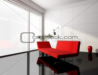 minimal red and white living room