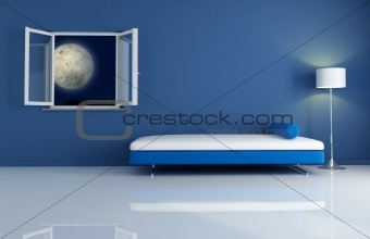 blue interior by night
