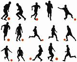 Football (soccer) silhouette set