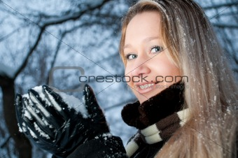 girl with snow