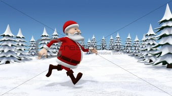 santa running through snow covered landscape