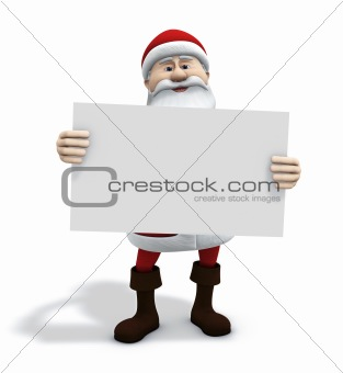 santa with white sign