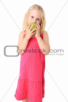 Little beautiful girl with green apple. Isolated on white backgr