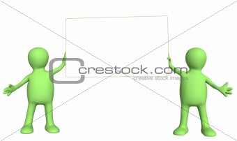 3d puppets with information banner