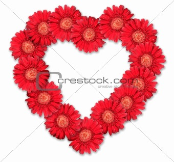 Bouquet of red flowers as heart-form