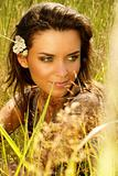 Portrait of attractive beautiful woman in nature
