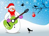 Snowman playing guitar