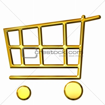 3D Golden Shopping Cart