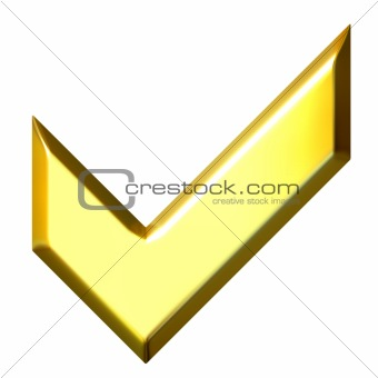 3D Golden Tick Sign