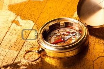 Old navigation equipment, treasure maps