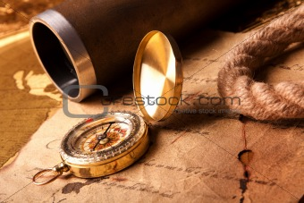 Old navigation equipment, treasure maps