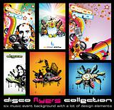 Set of 6 Quality Colorful Background for Discoteque Event Flyers with music design elements