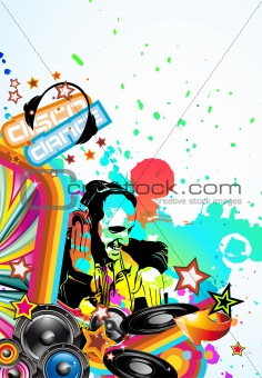 Music Event Background with Dj Shape and Rainbow Colours