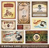 Vintage Labels Collection - Set of 8 design elements with original antique style