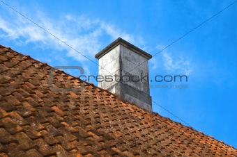 tiled roof top with  chimney
