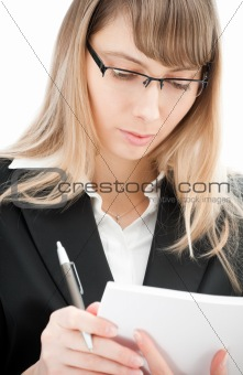 business woman with pen and paper