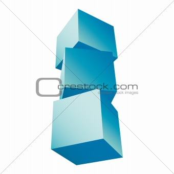 3d composition of cubes vector illustration