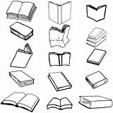 Books on isolated background, vector illustration