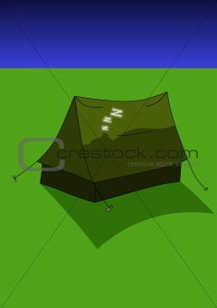 Asleep in tent