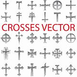 Set of Crosses Vector. Religious symbols icons.