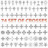 Set of Crosses Vector. Religious symbols icons.