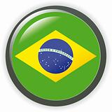 Brazil, shiny button flag vector illustration