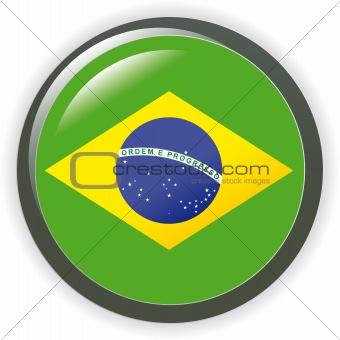 Brazil, shiny button flag vector illustration