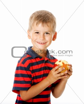 Boy holding an apple