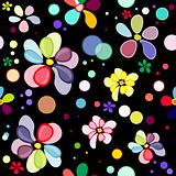 Seamless floral black pattern
