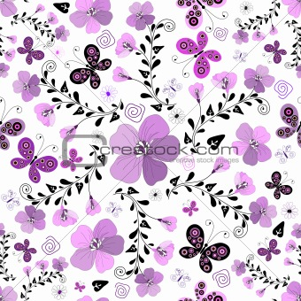 Seamless floral white pattern