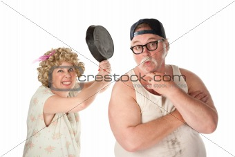 Wife readies to strike her clueless husband's head with a pan