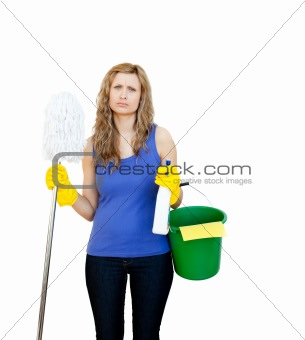Angry woman against white background