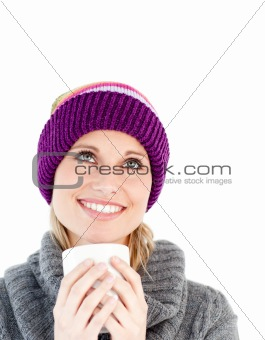Attractive woman against white background