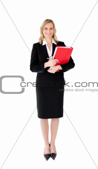 Attractive businesswoman with a pen and a folder
