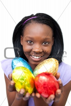 Attractive woman holding colorful Easter eggs