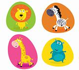 Cute safari animals set - lion, zebra, giraffe and hippo