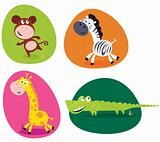 Cute safari animals set - monkey, zebra, giraffe and crocodile