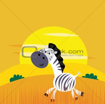 Africa animals: Cute cartoon africa zebra in the wild savanna