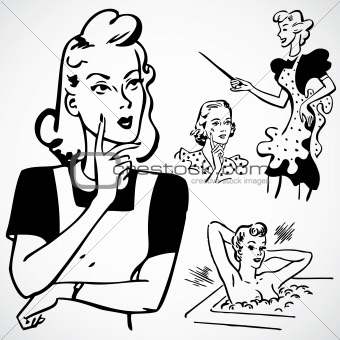 Vector Vintage Women Talking