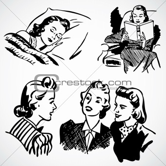 Vector Vintage Women at Home