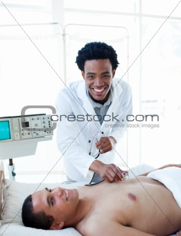 Afro-american doctor examining a patient