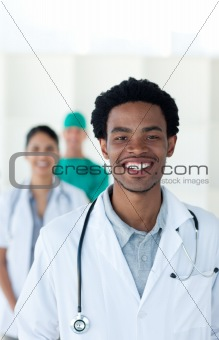 Afro-american doctor smiling at the camera