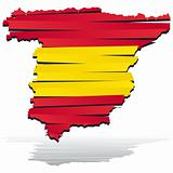 map of Spain country coloured by national flag