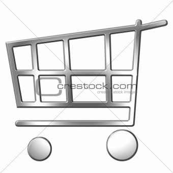 3D Silver Shopping Cart