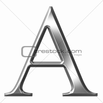 3D Silver Greek Letter Alpha