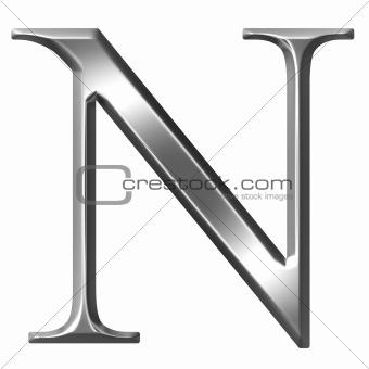 3D Silver Greek Letter Ny