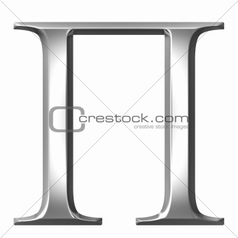 3D Silver Greek Letter Pi