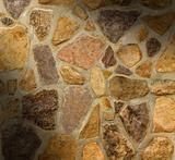 Masonry wall with irregular shaped stones