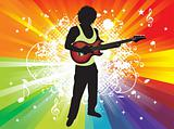 abstract colorful music bacground with guitar