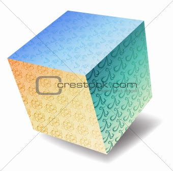 3d cube with flower pattern